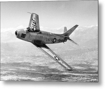 Metal Print featuring the photograph F-86 Sabre, First Swept-wing Fighter by Science Source
