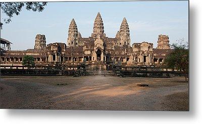 Facade Of A Temple, Angkor Wat, Angkor Metal Print