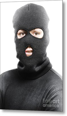 Face Of A Burglar Wearing A Ski Mask Or Balaclava Metal Print by Jorgo Photography - Wall Art Gallery