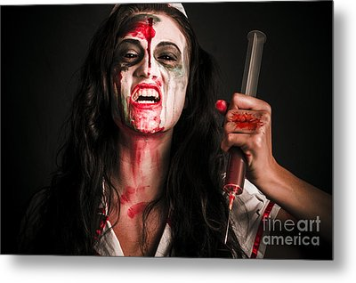 Face Of A Creepy Nurse Making Stab With Big Needle Metal Print