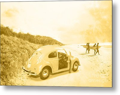 Faded Film Surfing Memories Metal Print