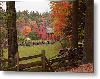 Fall Foliage Over A Red Wooden Home At Sturbridge Village Metal Print by Jeff Folger