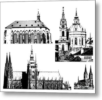 famous landmarks of Prague Metal Print by Michal Boubin