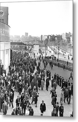 Fans Leaving Yankee Stadium. Metal Print by Underwood Archives