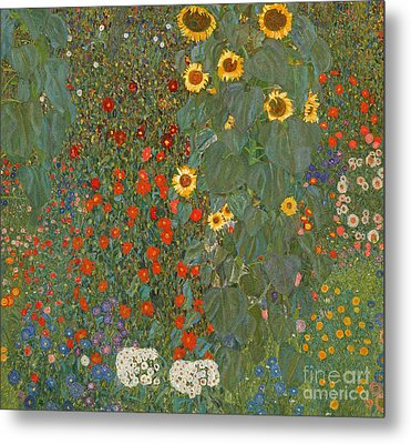 Farm Garden With Sunflowers Metal Print by Gustav Klimt