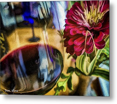 Farmhouse Red And A Zinnia Metal Print