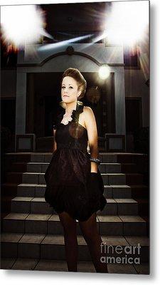 Fashion Model On Steps Metal Print by Jorgo Photography - Wall Art Gallery