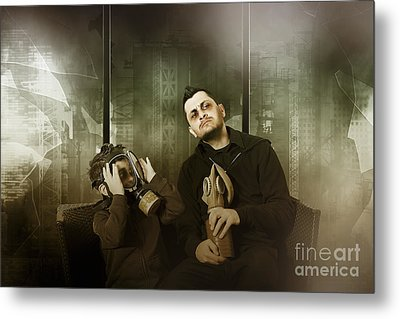 Father And Son In Gasmask. Nuclear Terror Attack Metal Print by Jorgo Photography - Wall Art Gallery