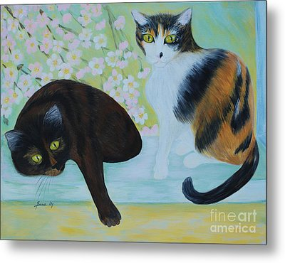 Metal Print featuring the painting Feline Friends. Inspirations Collection. by Oksana Semenchenko