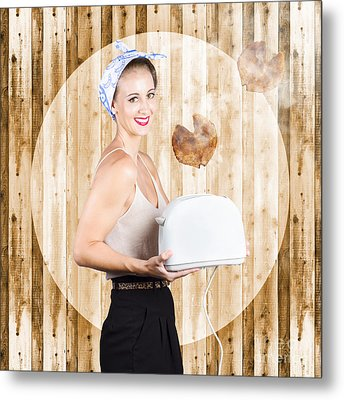 Female Breakfast Waiter With Hot Toast In Toaster Metal Print by Jorgo Photography - Wall Art Gallery
