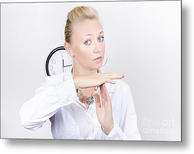 Female Business Executive Showing Time Out Gesture Metal Print by Jorgo Photography - Wall Art Gallery