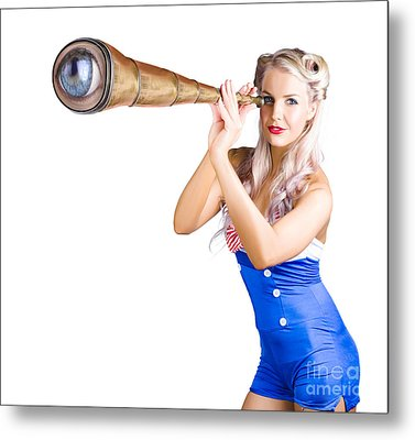 Female Sailor With Telescope Metal Print by Jorgo Photography - Wall Art Gallery