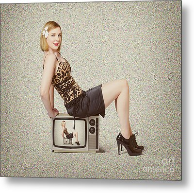 Female Television Show Actress On Old Tv Set Metal Print by Jorgo Photography - Wall Art Gallery