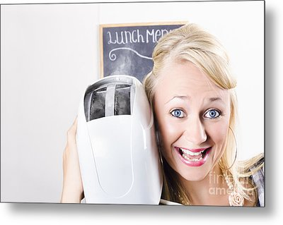 Female Waiter Serving Breakfast With Hot Bread Metal Print by Jorgo Photography - Wall Art Gallery