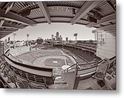 Fenway Park And Boston Skyline Metal Print