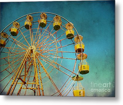 Metal Print featuring the photograph Ferris Wheel With Grunge Effect by Mohamed Elkhamisy