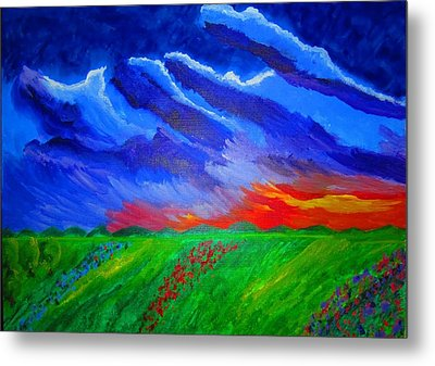 Field Of Flowers Metal Print by Haleema Nuredeen