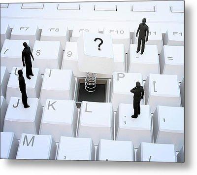Figures On Computer Keyboard Metal Print by Andrzej Wojcicki