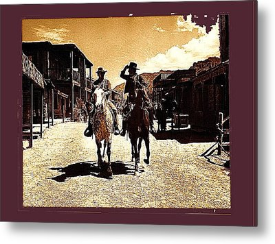 Film Homage Mark Slade Cameron Mitchell Riding Horses The High Chaparral Old Tucson Az C.1967-2013 Metal Print by David Lee Guss