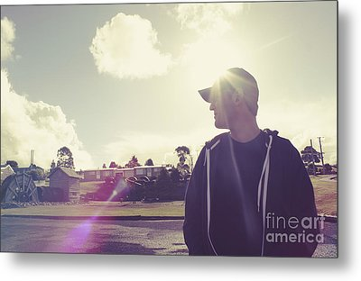 Filtered Style Retro Photo. Sun Flare Travel Man  Metal Print