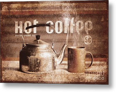 Fine Art Coffee Shop Tin Sign Insignia Metal Print by Jorgo Photography - Wall Art Gallery