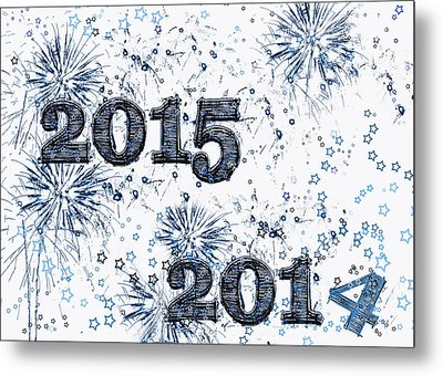 Fireworks And Stars Happy New Year 2015 Metal Print