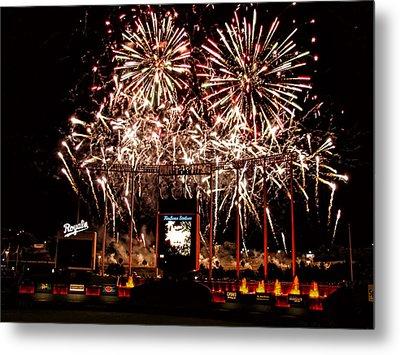 Fireworks At Kauffman Stadium Metal Print by Alan Hutchins