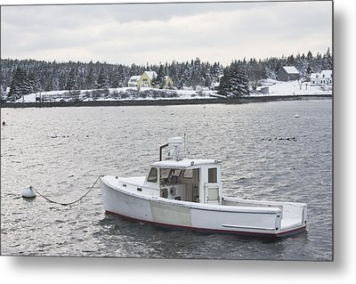 Fishing Boat After Snowstorm In Port Clyde Harbor Maine Metal Print