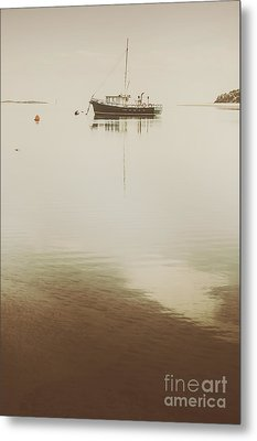 Fishing Boat Trawler Docked At Tasmanian Harbor Metal Print