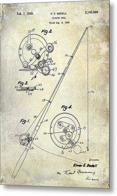 Fishing Reel Patent 1939 Metal Print by Jon Neidert