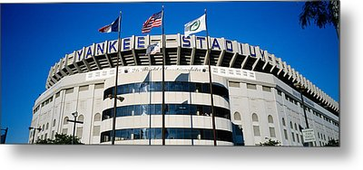 Flags In Front Of A Stadium, Yankee Metal Print by Panoramic Images