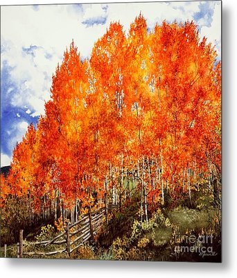 Metal Print featuring the painting Flaming Aspens 2 by Barbara Jewell