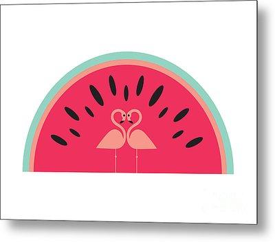 Flamingo Watermelon Metal Print by Susan Claire