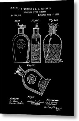 Flask Patent 1888 - Black Metal Print