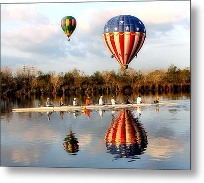 Floating And Rowing Metal Print by James Stough