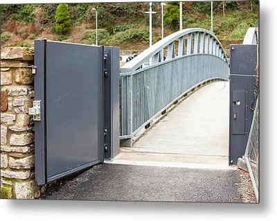 Flood Defences In Cockermouth Metal Print by Ashley Cooper