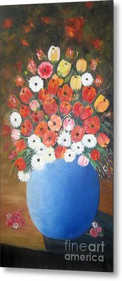 Flower Vase Metal Print by Usha Rai