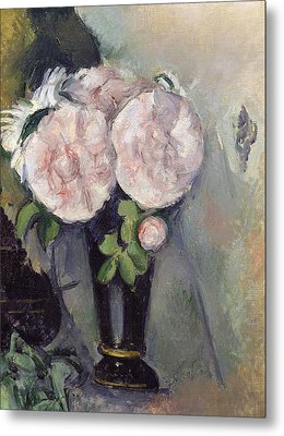 Flowers In A Blue Vase Metal Print by Paul Cezanne