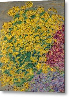 Flowers Pastel On Paper Metal Print