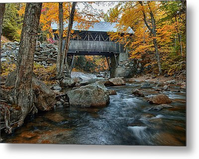 Flume Gorge Covered Bridge Metal Print by Jeff Folger