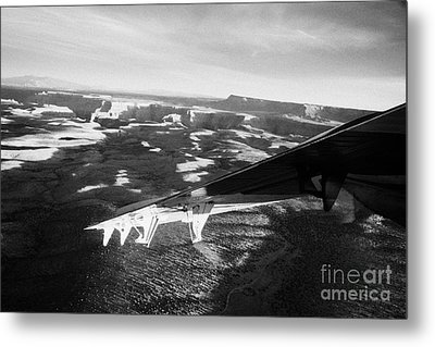 flying over land approaches to the rim of the grand canyon Arizona USA Metal Print by Joe Fox