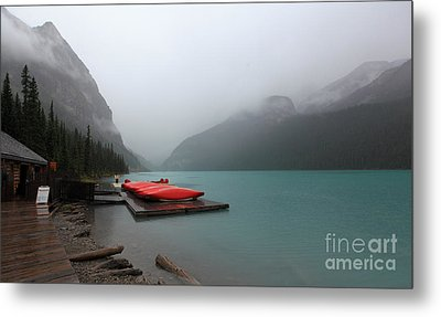 Foggy Lake Louise In Banff Alberta Metal Print