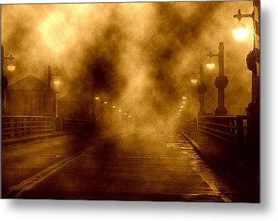 Metal Print featuring the photograph Foggy Night At The Bridge by Holly Martinson