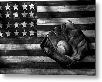 Folk Art American Flag And Baseball Mitt Black And White Metal Print by Garry Gay