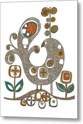 Folk Bird Metal Print by Valentina Ramos