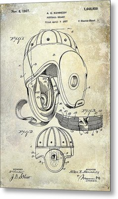1927 Football Helmet Patent Metal Print by Jon Neidert