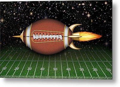 Football Spaceship Metal Print by James Larkin