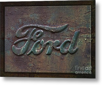 Detail Old Rusty Ford Pickup Truck Emblem Metal Print by John Stephens