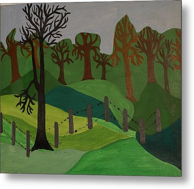 Forest Moderna Metal Print by Erika Chamberlin
