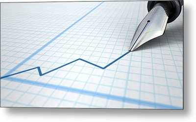 Fountain Pen Drawing Increasing Graph Metal Print by Allan Swart